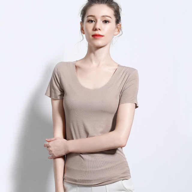 Basic Short Sleeve Tops Tees Women Round Neck Raw Edge Essential T Shirt Summer Solid Colors