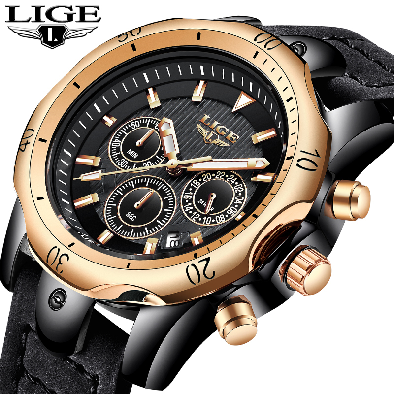 2018 Mens Watches LIGE Top Brand Luxury Watch Men Military Leather Clock Waterproof Sports Watch Chronograph Relogio Masculino