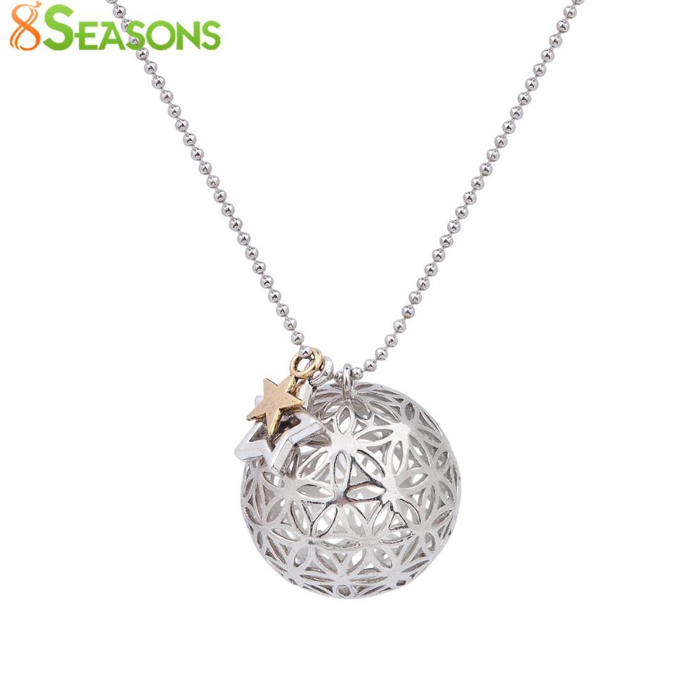 8SEASONS bakar cvijet života čari privjesci okrugli ogrlica srebrni ton boja šuplje rezbareno ljeto Boho ručno 67cm 1 komad