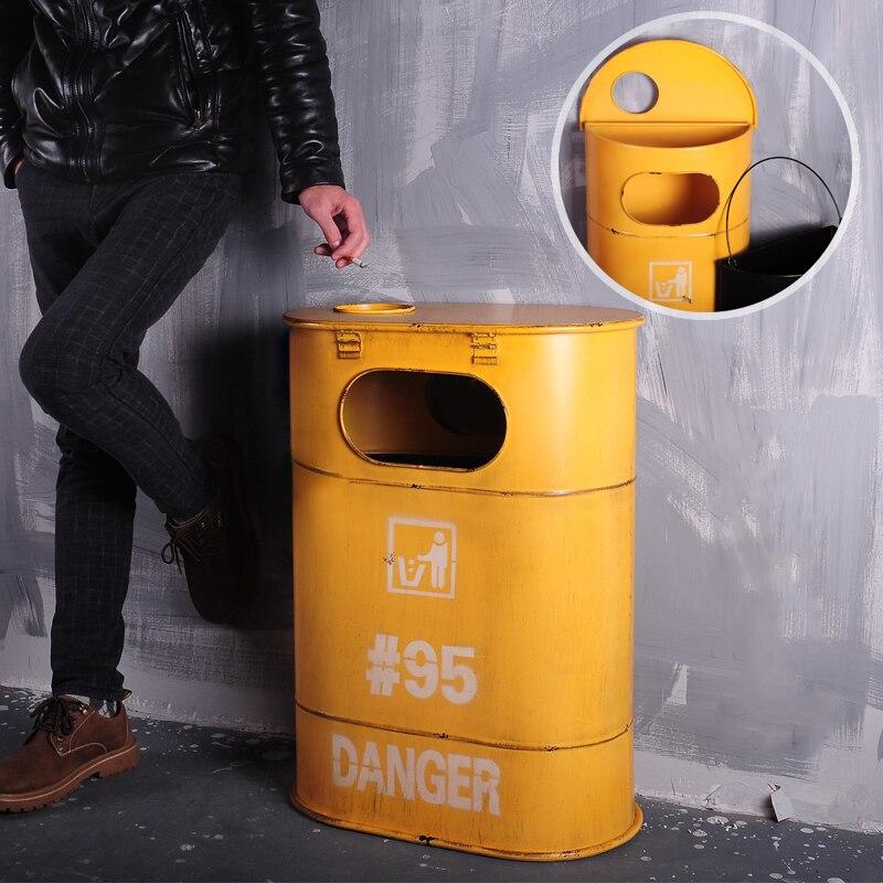Retro amerykański wiatr przemysłowe żelaza baryłka ropy kosz na śmieci duży beczki do przechowywania bar kawiarenka internetowa kawiarnia dekoracji decoratio w Kosze na śmieci od Dom i ogród na  Grupa 3