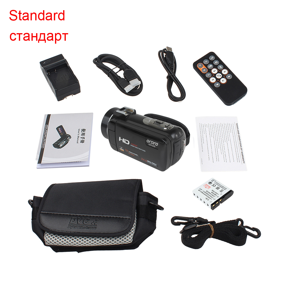 """ORDRO HDV-Z Microphone Camcorder 3.0"""" Touch Screen LCD 24MP 16X Zoom Digital Video Camera 1080P Full HD Wifi Remote Control 1"""