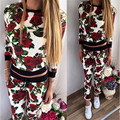 Europa e América Mulheres De Alta Qualidade Mulheres Terno 2 Pcs Floral Treino Camisola Hoodies Calças Conjunto Desgaste Ativo Terno Sportswear