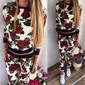 Europe and America High Quality Womens Suit Women 2Pcs Tracksuit Floral Hoodies Sweatshirt Pants Set Active Wear Suit Sportswear
