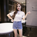 2016 Fashion Women shorts New hot sexy girl Casual Solid Low Regular Denim Shorts shorts jeans feminino