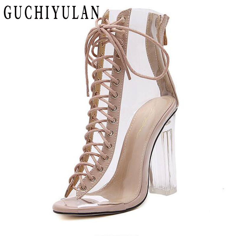 Summer Sandals Sexy PVC Transparent Gladiator Sandals Cross Strappy Toe Shoes extreme high heels Women Ankle boots 12cm pumps rhinestone sandals summer shoes women pumps transparent womens shoes heels strappy heels ladies shoes