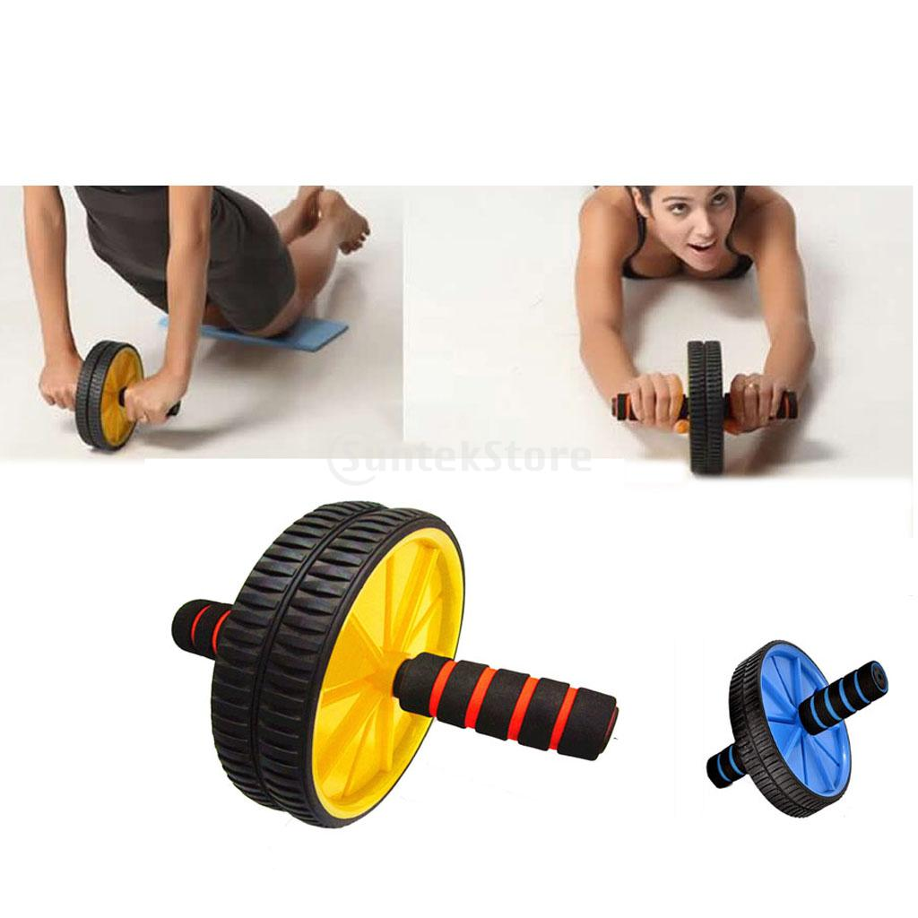 f39a0bc4b6 Detail Feedback Questions about Dual Wheel Abdominal Exerciser Roller  Muscle Waist Training Gym Home Fitness Workout Equipment and Knee Pad  Yellow Blue on ...