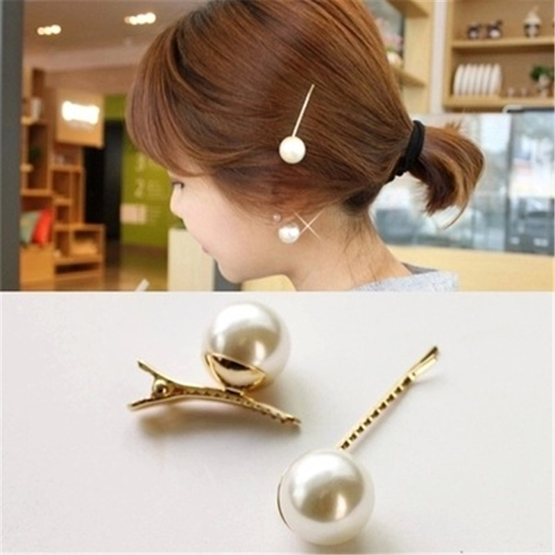 Fashion charm handmade gold 1PC pearl imitation hairpin snap hairpin hairpin hair styling accessories female girl in Women 39 s Hair Accessories from Apparel Accessories