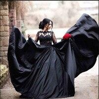 Vintage Turkey Plus Size Lace A Line Black Wedding Dress Bridal Gowns 2019 Long Sleeve Princess Lebanon Illusion Arab Bride