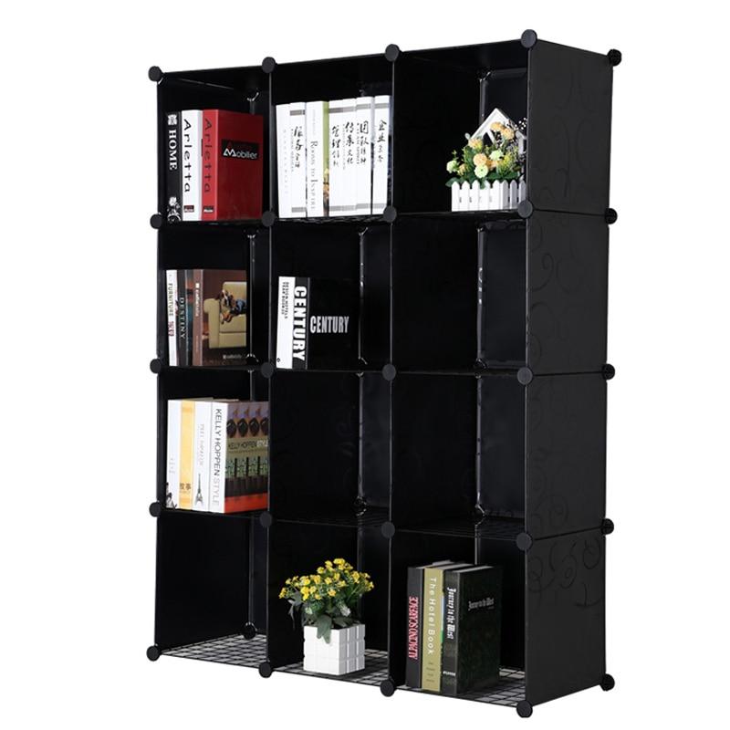 costway resin plastic bookshelves diy 12 grid portable bedroom storage shelves organizer bookcase boekenkast librero w0237