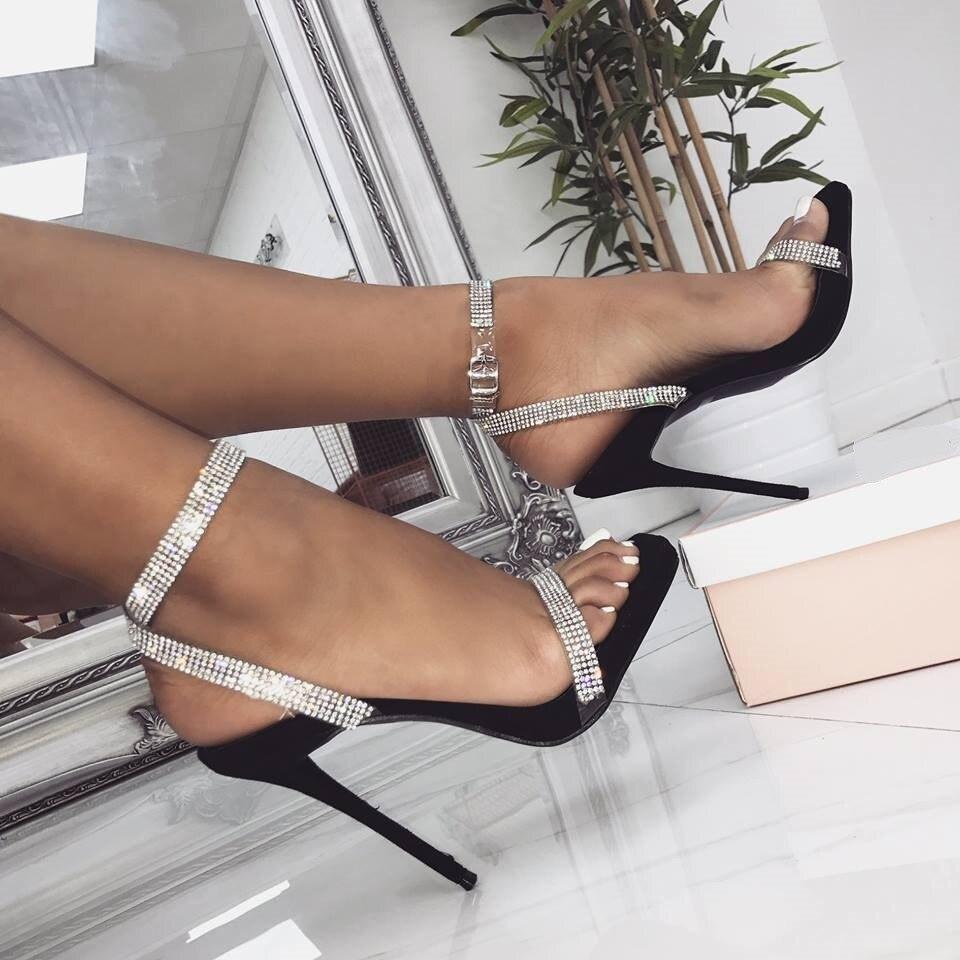 Sandales d'été femme talons diamant fermoir croisé dewy toe chaussures