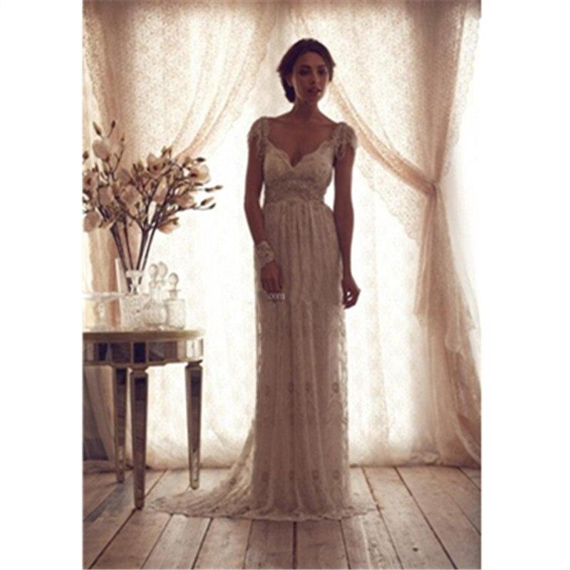 Robe de mariée Sexy Boho longue dos nu blanc plage robe de mariée Appliques dentelle col en V princesse robe de mariée livraison gratuite - 2
