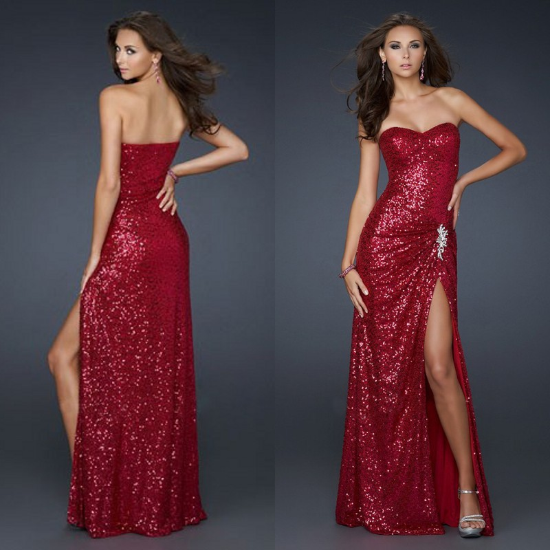 2018Sweetheart Leg Slits Red Sequin Prom Formal Floor Length party Gown robe demoiselle d'honneur   bridesmaid     dresses