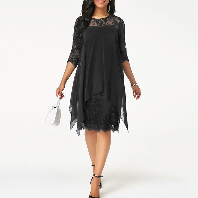 Plus Size Chiffon Dresses Women New Fashion Chiffon Overlay Three Quarter Sleeve Stitching Irregular Hem Lace Dress 1