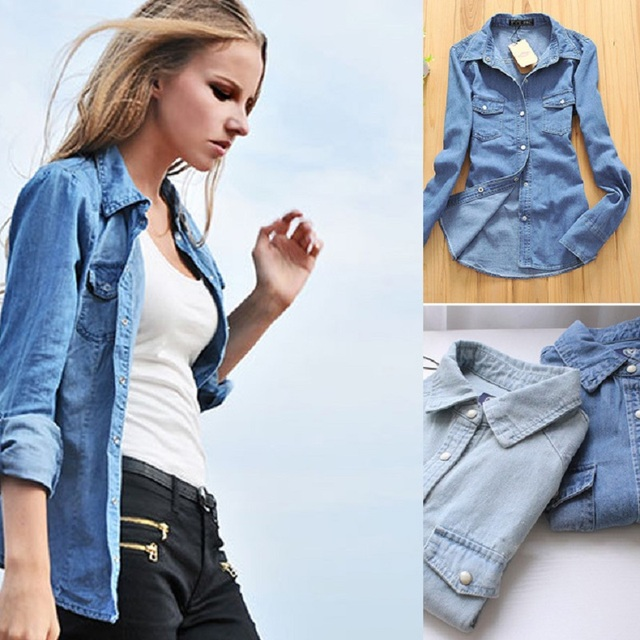 Plus size denim shirt women clothing nostalgic gradient jeans shirt vintage womens camisa jeans blusas feminina blouse