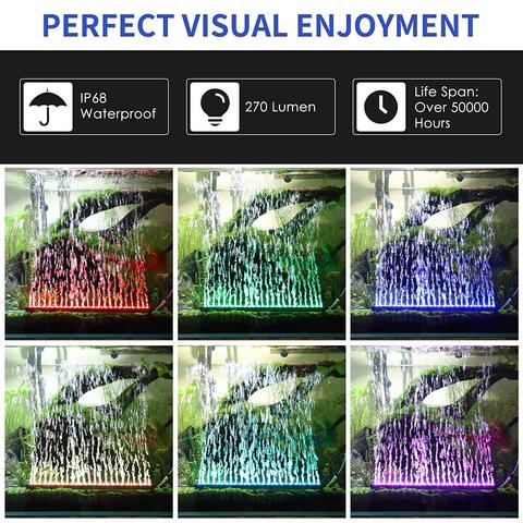 LED Aquarium Light IP68 Waterproof Fish Tank Lights Mutil-Color Air Bubble Dimmable Submersible Underwater Lights with Remote Islamabad