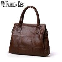 VM FASHION KISS Genuine Leather Tote Female Famous Brand Messenger Crossbody Bag For Women Bolsos Sac