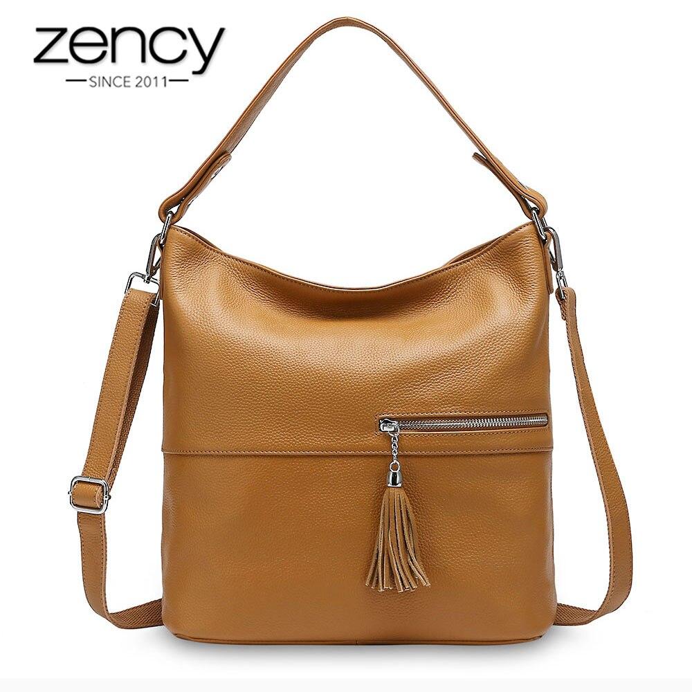 Zency Beauty Design Women Shoulder Bag With Tassel 100% Genuine Leather Handbag Apricot Fashion Lady Crossbody Purse Black Grey