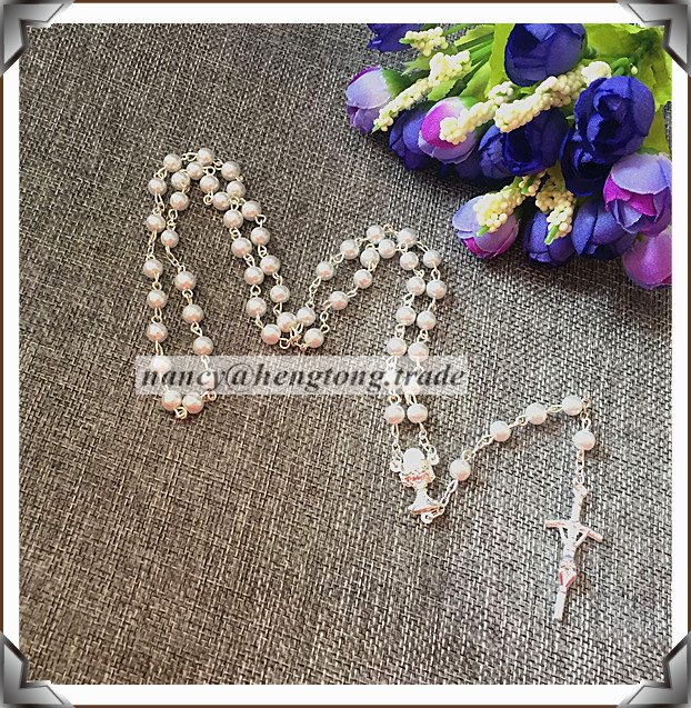 6mm glass Imitation pearl bead rosario,pearl rosary N1326 with Chalice center special offer