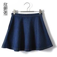 women new Spring summer cotton sun a short skirt sheds puff skirt denim skirt female Jeans wash water umbrella skirt