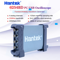 Hantek 6254BD PC Handheld Oscilloscope Digital 4Channels 250MHz USB Oscillograph with 25MHz Signal Generator Osciloscopio
