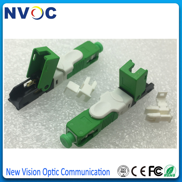 100Pcs/Lot,SC APC Optical Fiber Quick Connector SCAPC FTTH Fiber Optic Fast Connector Embedded Type ESC250D SC UPC Connector