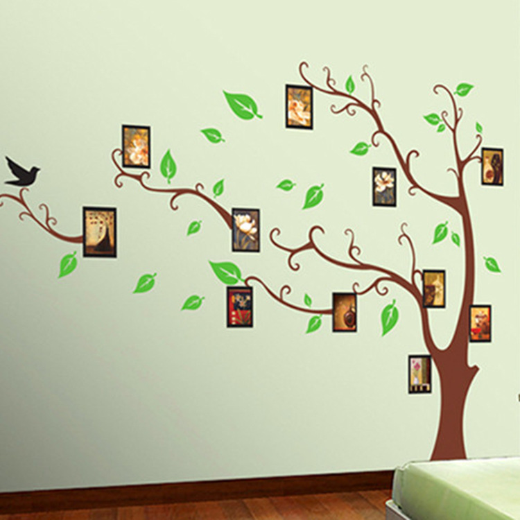 Family Home Decor: Large Photo Frame Tree Birds Wall Stickers Art Decal