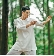 Cotton Linen Men's Yoga Suits Long Sleeved Taiji Lay Clothes Plus Size Breathable Meditation Martial Arts Performance Clothing