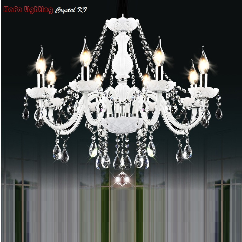 Image 3 - Modern White Crystal Chandelier Lights Lamp Chandeliers For bedroom Living room Fixture Crystal Light Lustres de crista lighting-in Chandeliers from Lights & Lighting
