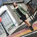 2016 Primavera Verão Outono Mulheres Brasão Completo Manga Bordado Dia Verde Do Exército Jaqueta de Equipamentos Pesados Casacos Outerwear 8022