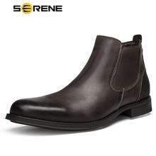Спокойный Фирменная Новинка Для мужчин ботинки оксфорды из натуральной кожи Туфли под платье мужской Британский ботинок Челси Для мужчин s зима Бизнес точка обувь