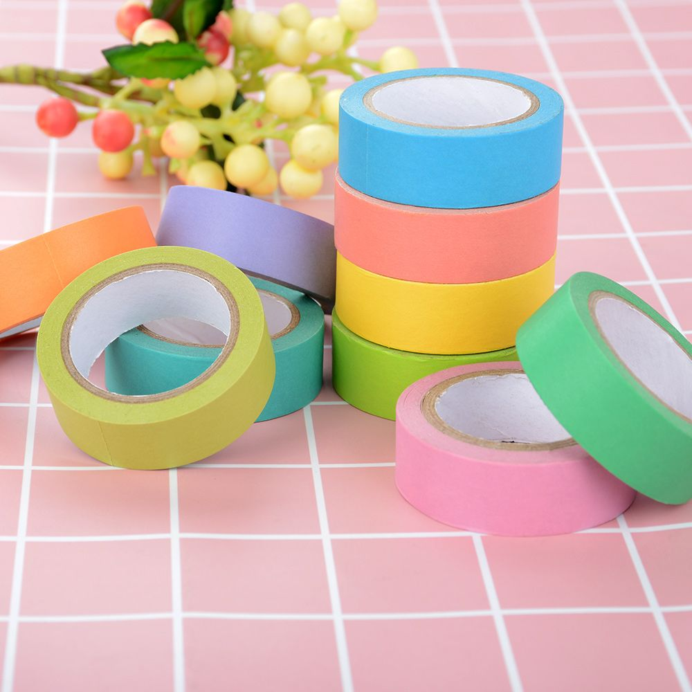 Rainbow Solid Color Japanese Masking Washi Sticky Paper Tape Adhesive Writable Printing DIY Scrapbooking Deco Washi Tape