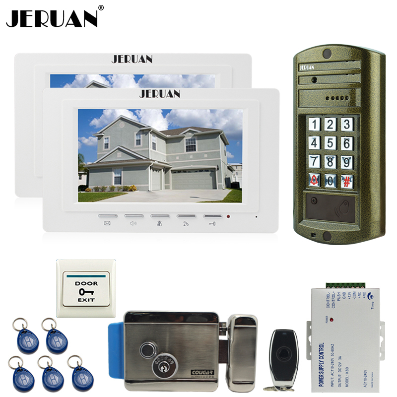 JERUAN Wired 7 inch Video Intercom Door Phone System kit 2 Monitor +NEW Metal Waterproof Access Password keypad HD Mini Camera jeruan wired 7 inch video doorbell intercom door phone system kit new metal waterproof access password keypad hd mini camera 1v3