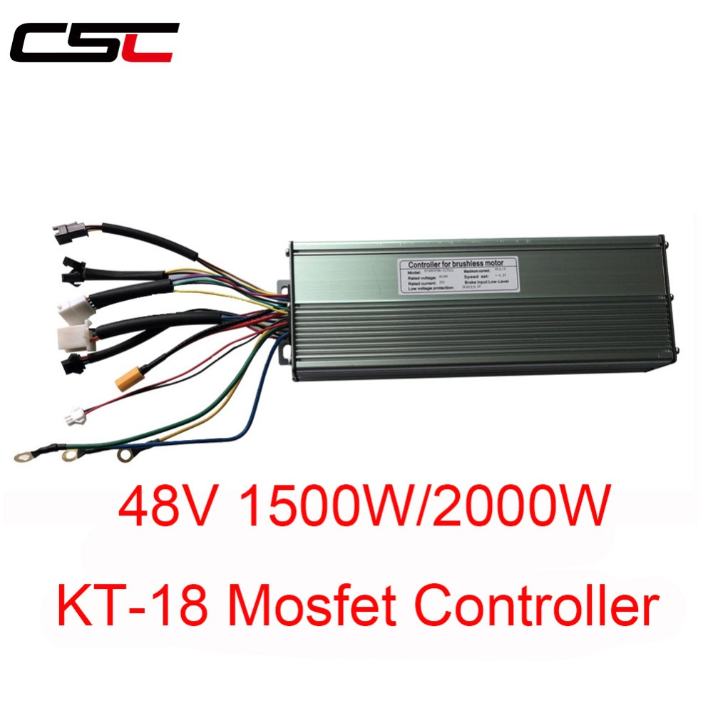 ebike 45A 48V 1500W//2000W DC Dual Mode Brushless Bicycle Controller 18 Mosfet