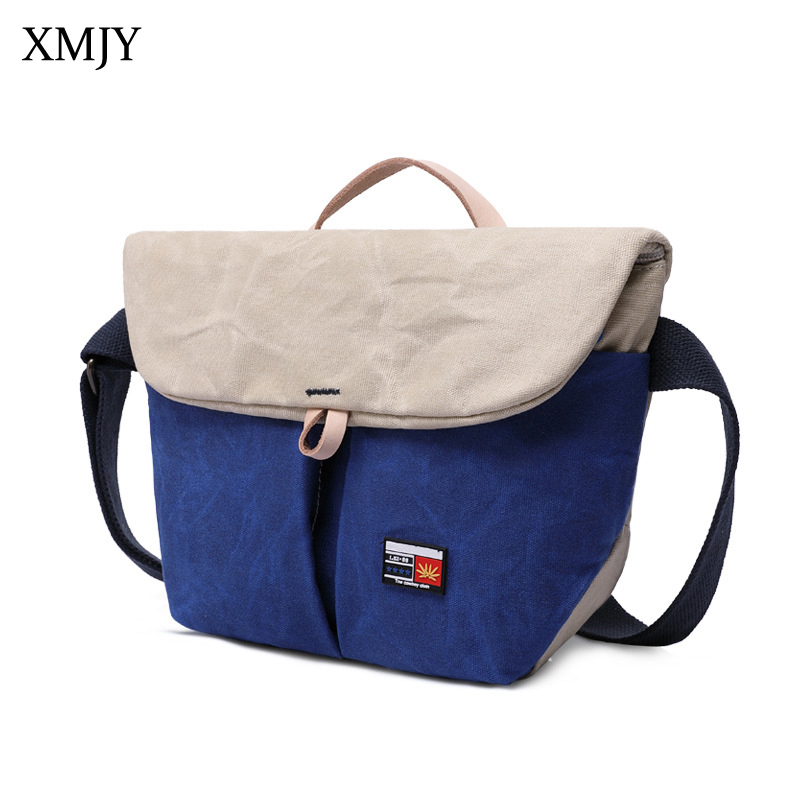 XMJY Oil Wax Canvas Bucket Shoulder Bags Men Fold Cover Patchwork Crossbody Bag Multi Function Vintage Large Capacity Male Bag vintage canvas travel shoulder bag men messenger bags fashion cover crossbody bag large capacity male multi function laptop bags