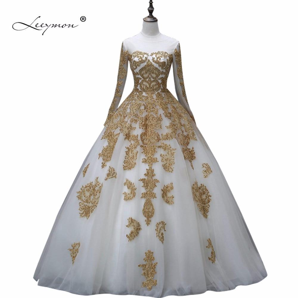 Leeymon Muslim Wedding Dress In Dubai White and Gold Long Sleeves Wedding Gown Beaded Lace Vestido De Noiva W46
