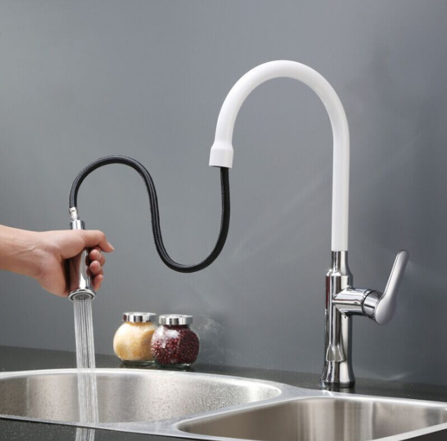 Pull Type Kitchen Sink Faucet Baking White Hot And Cold Wash Basin