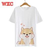 Harajuku Summer Women Tee Shirt Cute Doge Lovely Heart Short Sleeve Fresh Tee Tops Anime Around Kawaii Unisex Casual T shirt WXC
