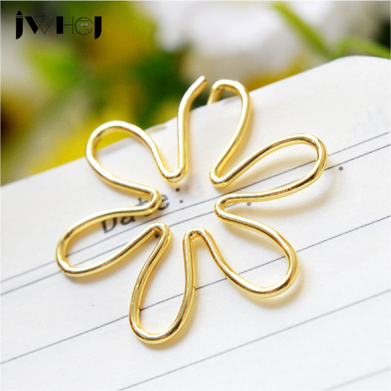 10 Pcs/lot Golden Flowers Shape Paper Clip Material Escolar Bookmarks For Books Stationery School Supplies Papelaria Child Gifts