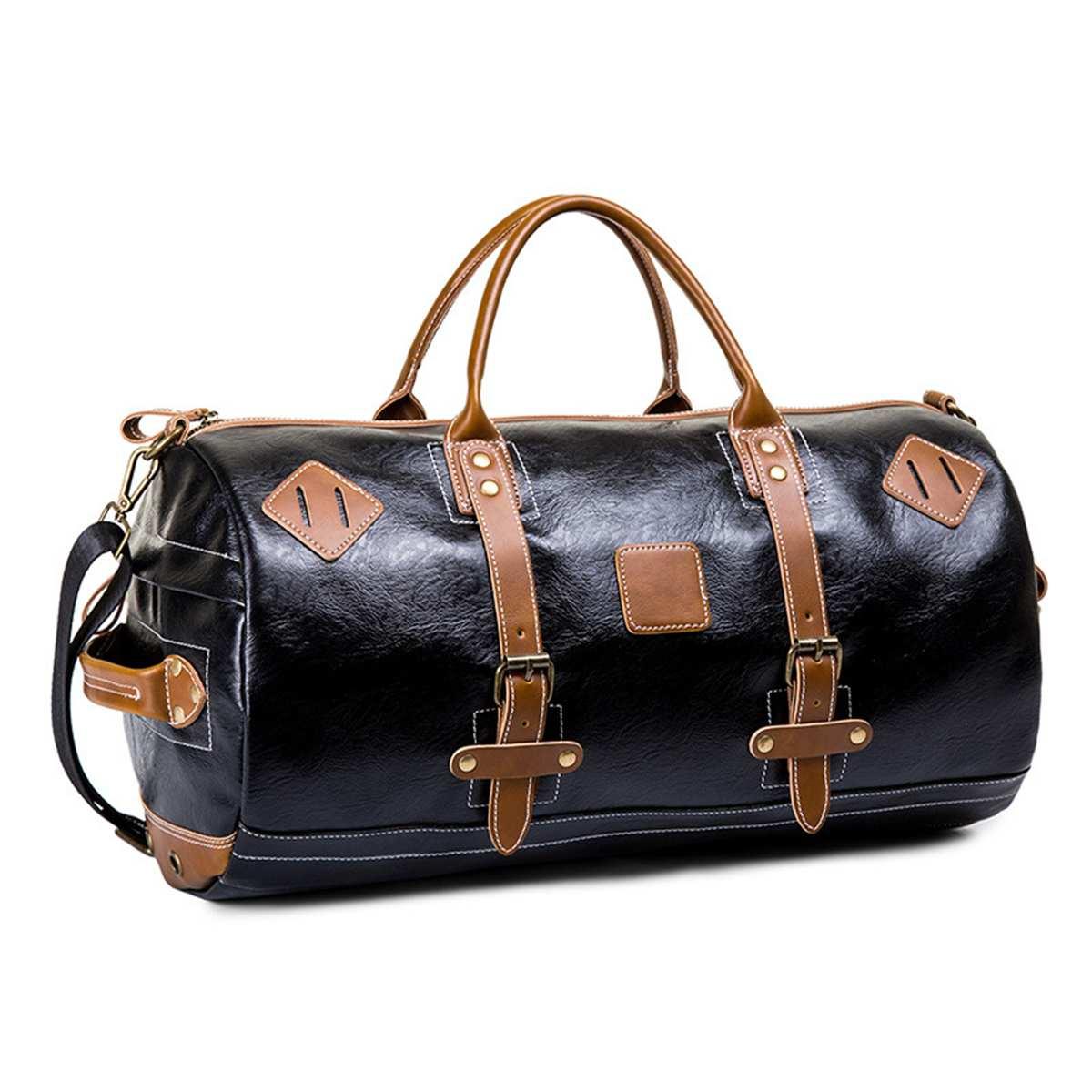 Men Large Capacity Crossbody Travel Bags Practical Weekend Luggage Duffel Bag Vintage Women PU Leather Shoulder Handbag Tote