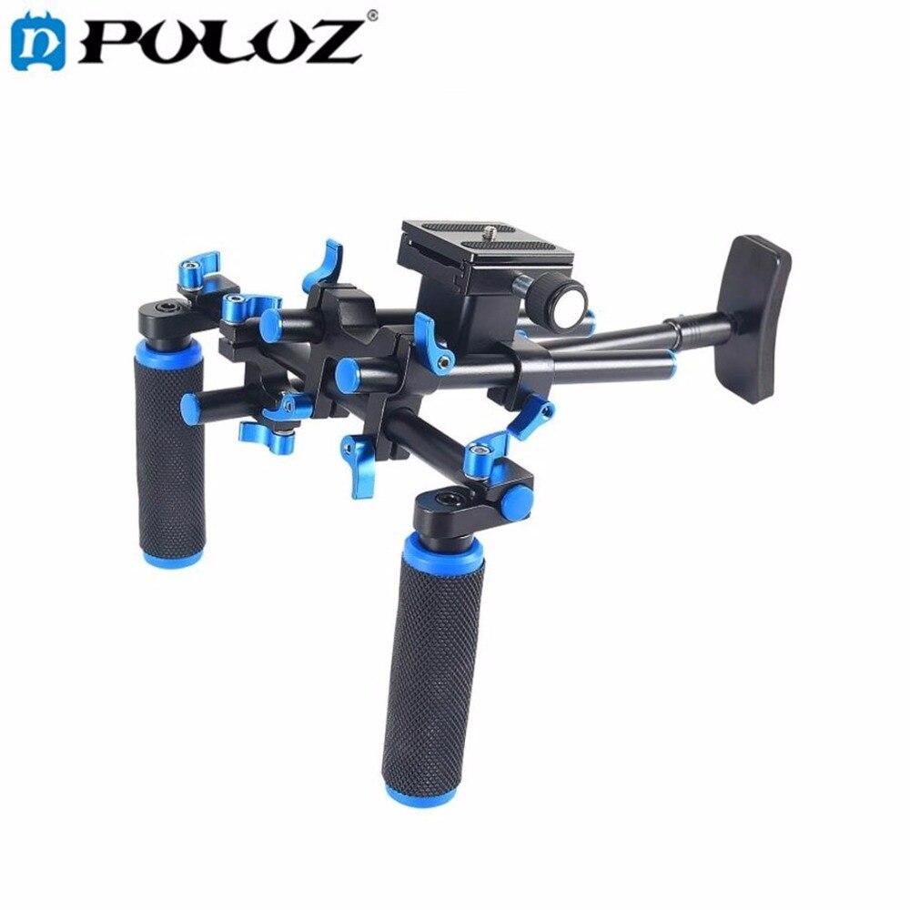 PULUZ YLG0102E Steadicam DSLR Rig Dupla Alças Aperto Livre Camera Shoulder Mount Kit para DSLR SLR Câmera de Vídeo Filmadoras