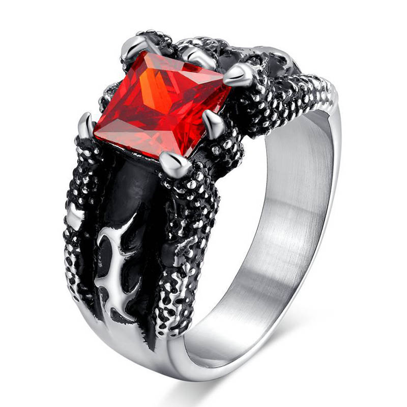 cool men wedding rings stainless steel red stone rings for men inlayed design fashion party guy - Guys Wedding Rings