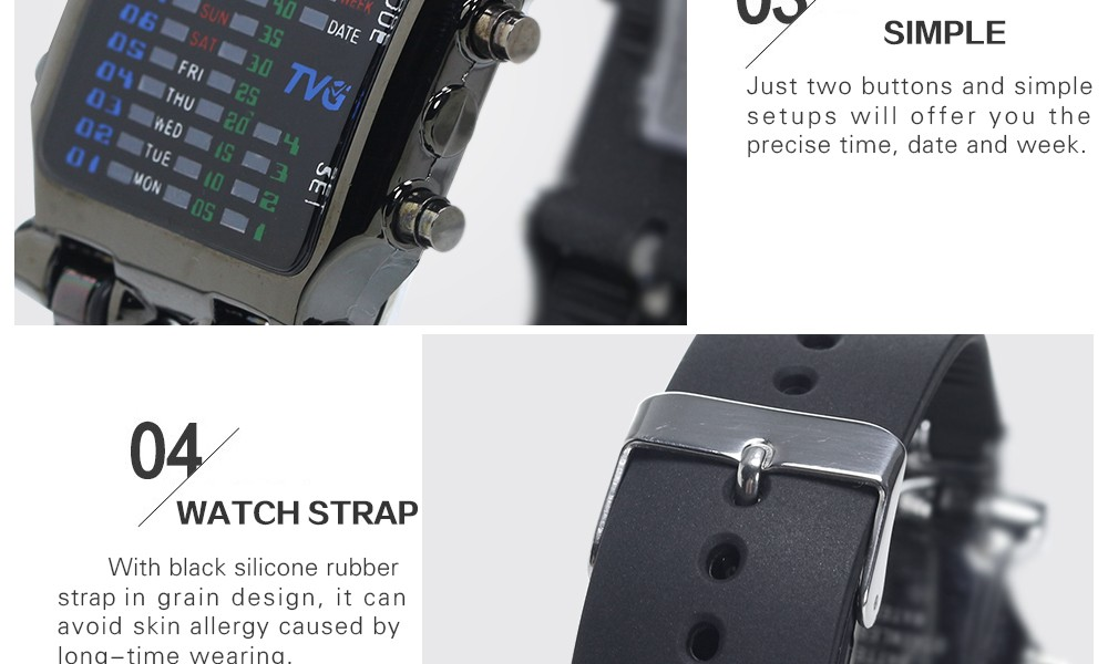 Luxury Brand TVG Watches Men Fashion Rubber Strap LED Digital Watch Men Waterproof Sports Military Watches Relogios Masculino 8