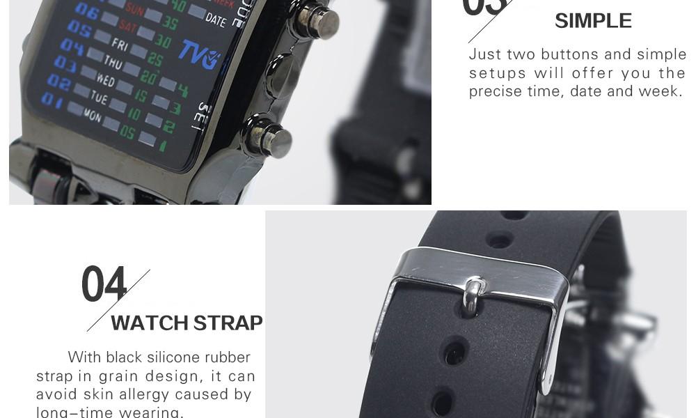 Luxury Brand TVG Watches Men Fashion Rubber Strap LED Digital Watch Men Waterproof Sports Military Watches Relogios Masculino 8