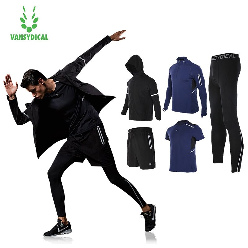Vansydical New Warm Sport Suit 5pcs Men Sportswear Windproof Gym Training Tracksuit Running Sets Jogging Jacket S-3XL authentic nike men s coat spring new windproof jacket windrunner training
