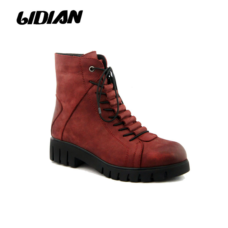 LIDIAN women boots warm wool winter ankle boots nubuck leather casual boots lace up zipper opening womens shoes B5-1 LIDIAN women boots warm wool winter ankle boots nubuck leather casual boots lace up zipper opening womens shoes B5-1