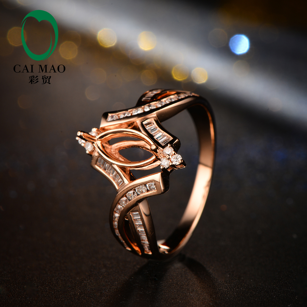 14K Rose Gold 4x9mm Marquise Diamond Semi Mount Engagement Wedding Ring Setting For Men And Women Free Shipping In Rings From Jewelry Accessories On