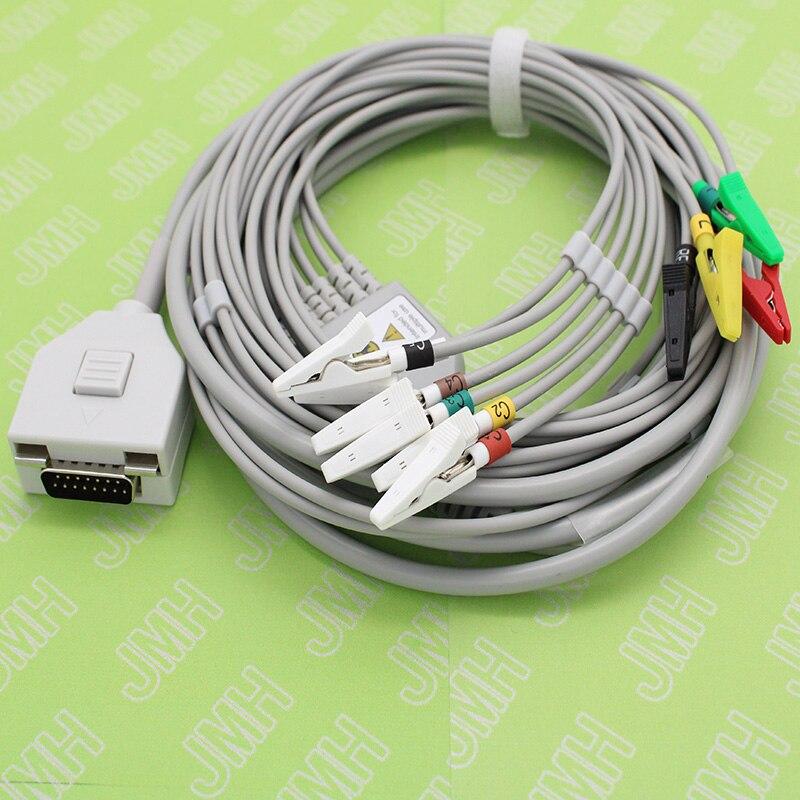 Câble à 10 fils DB15P EKG ECG EMG pour animaux et électrode à pince crocodile pour moniteur Patient Fukuda ME KP-500/électrode plate spéciale