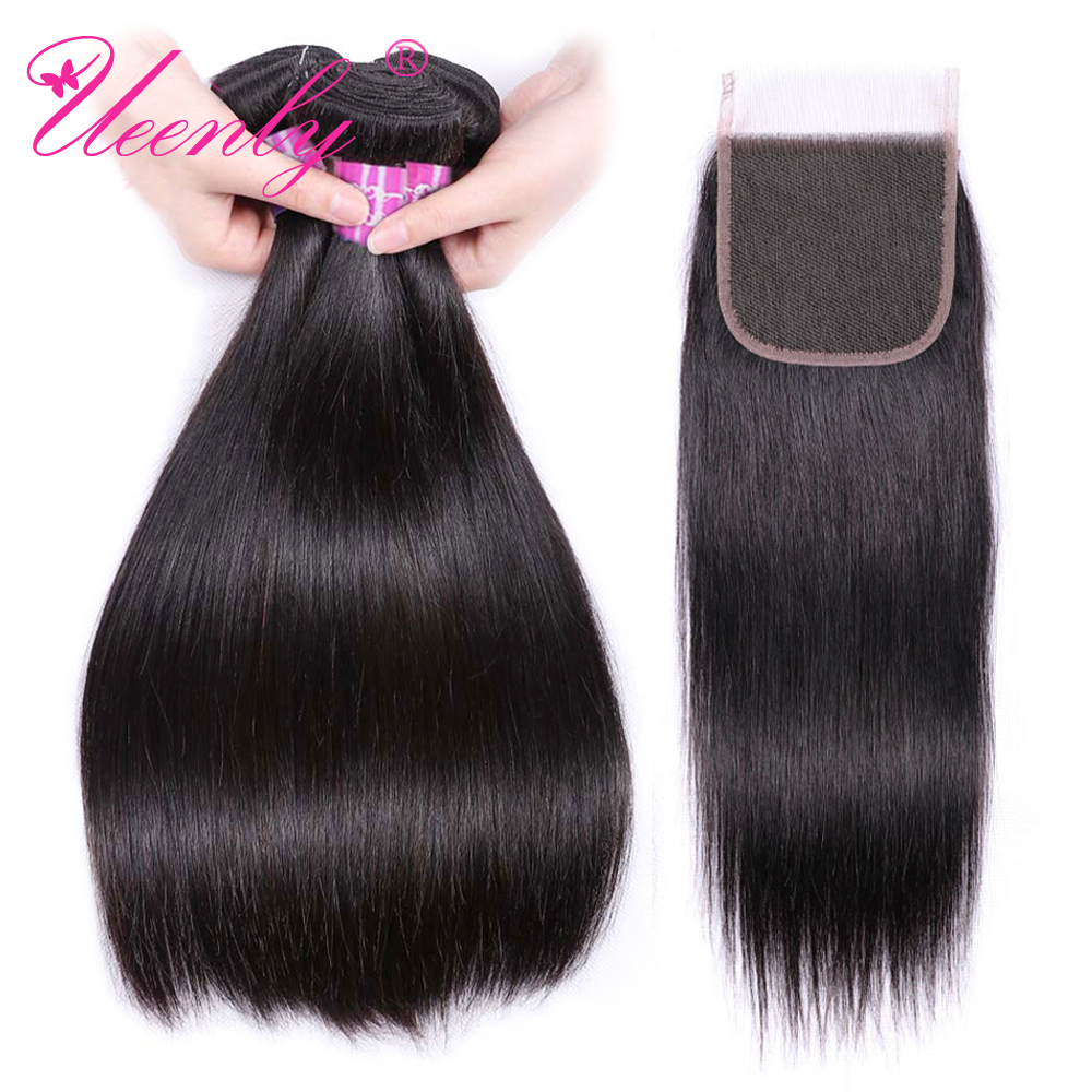 UEENLY Hair-Bundles Closure Brazilian-Hair Straight with Weave Non-Remy