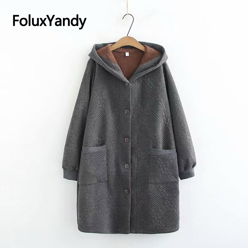 Single Breasted   Parka   Coat for Women Plus Size XXXL 5XL Casual Hooded Warm Thick Long   Parka   Solid Outerwear KKFY2972