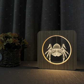 The spider design Wooden acrylic lights warm white lights Practical gifts Christmas Halloween costumes Home decoration
